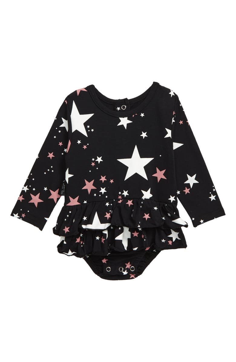 TINY TRIBE Star Tiered Skirt Bodysuit, Main, color, BLACK
