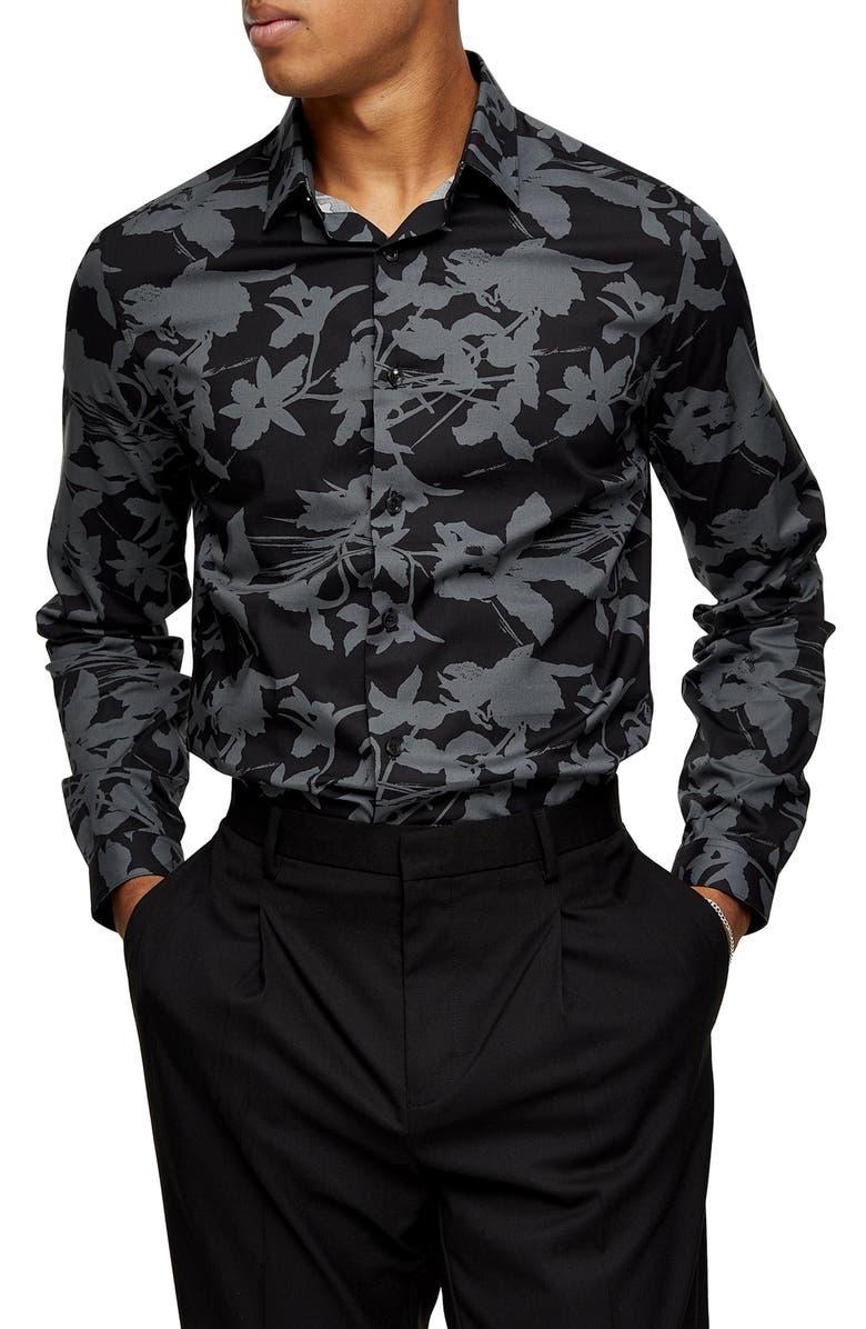 TOPMAN Slim Fit Shadow Floral Print Button-Up Shirt, Main, color, GREY MULTI
