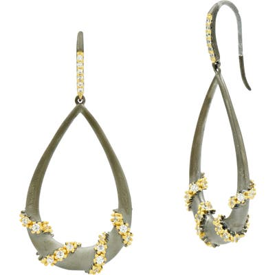 Freida Rothman Double Helix Pave Hoop Earrings