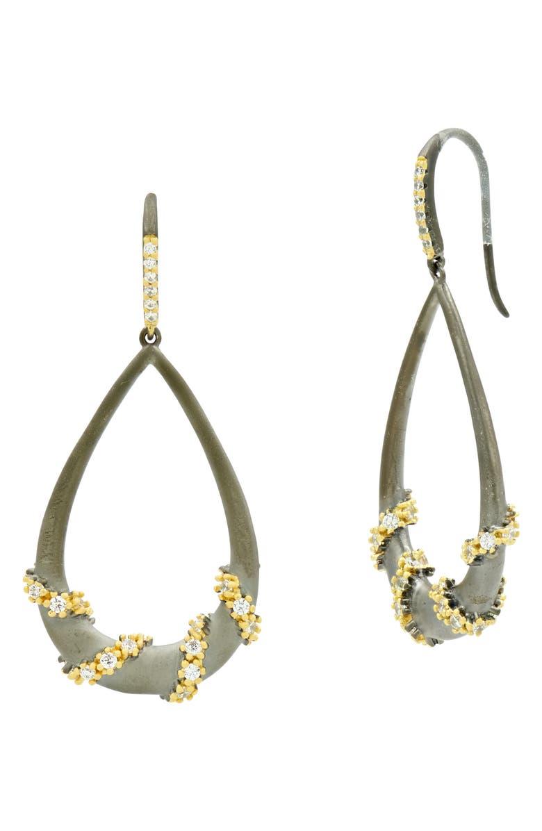 FREIDA ROTHMAN Double Helix Pavé Hoop Earrings, Main, color, GOLD/ BLACK MULTI