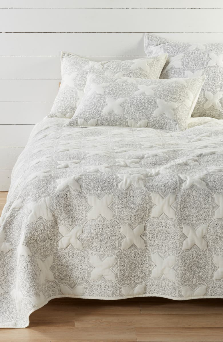 NORDSTROM AT HOME Ria Embroidered Quilt, Main, color, IVORY