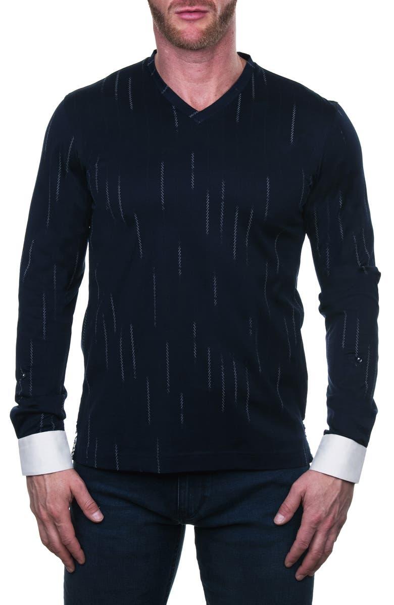 MACEOO Edison Regular Fit Line Long Sleeve V-Neck T-Shirt, Main, color, 420