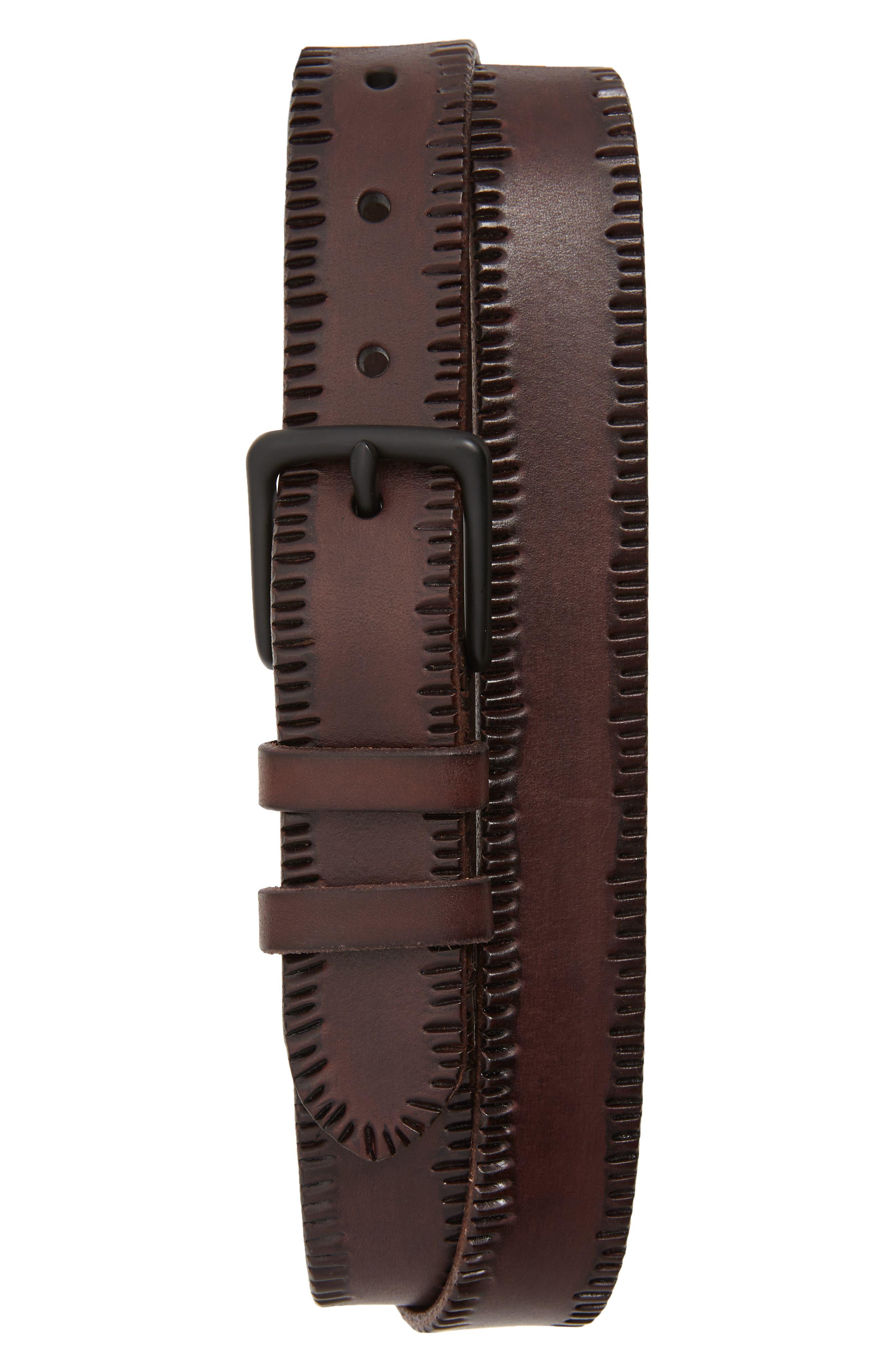 Allsaints Embossed Edge Leather Belt, Dark Brown/ Matte Black