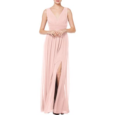 #levkoff V-Neck Pleated Chiffon Evening Dress, Pink