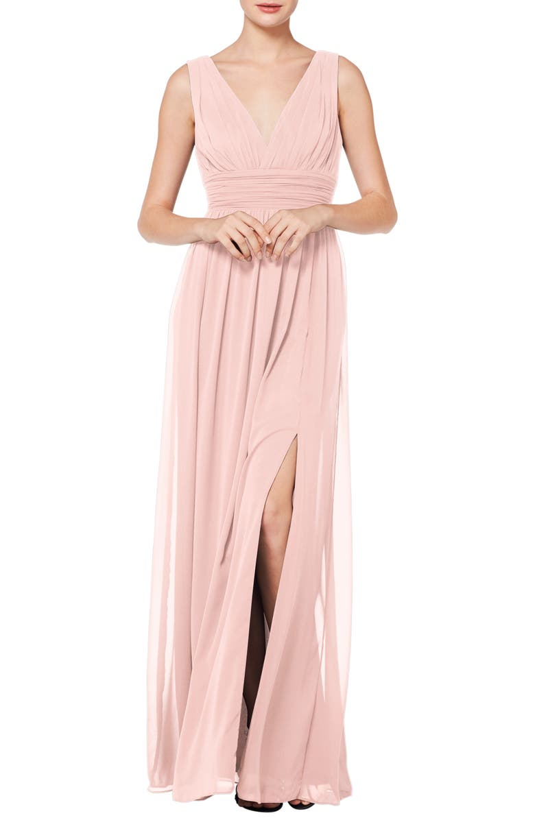 #LEVKOFF V-Neck Pleat Chiffon A-Line Gown, Main, color, PETAL PINK