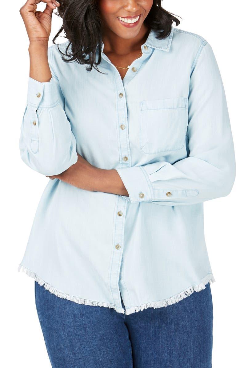 FOXCROFT Haven Tencel<sup>®</sup> Lyocell Shirt, Main, color, BLUEWASH