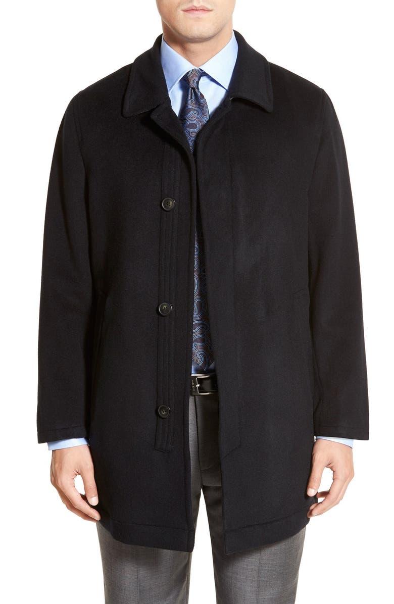 HART SCHAFFNER MARX Douglas Modern Fit Wool & Cashmere Overcoat, Main, color, BLACK