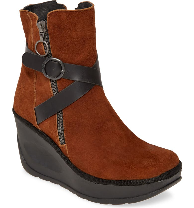 FLY LONDON Jaso Wedge Bootie, Main, color, COGNAC/ BLACK LEATHER