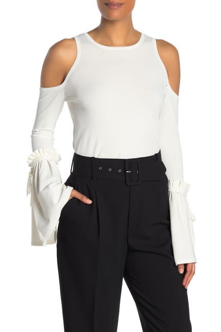 Image of MILLY Ruffled Cold Shoulder Blouse