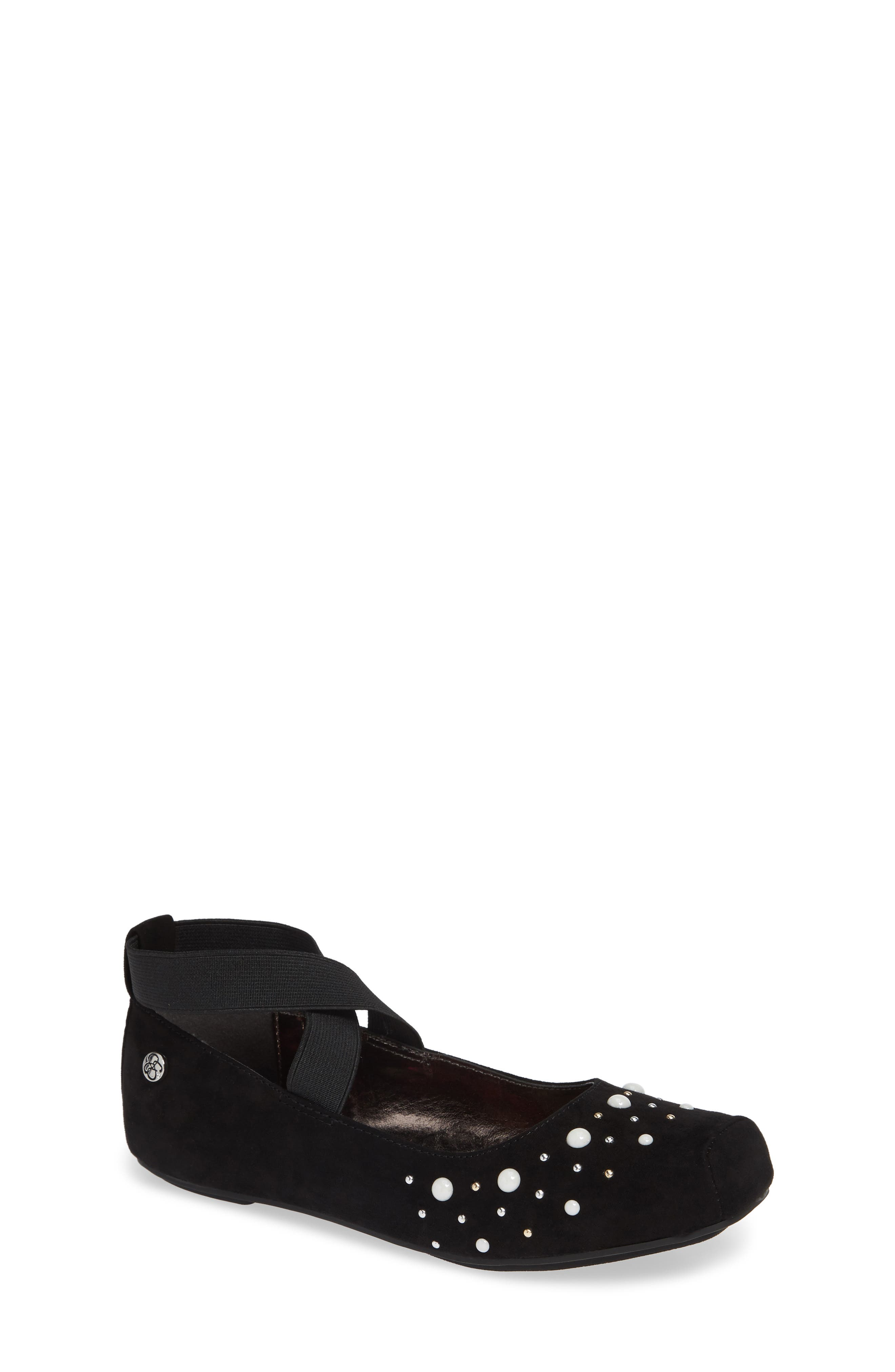 ,                             Cross Strap Ballet Flat,                             Main thumbnail 1, color,                             BLACK MICRO SUEDE W/ PEARLS
