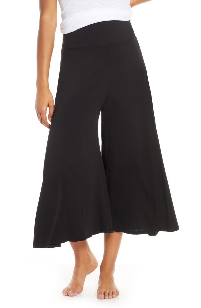 GROCERIES APPAREL Wide Leg Pajama Pants, Main, color, BLACK