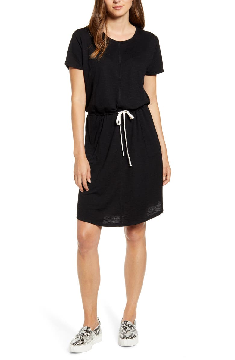 CASLON<SUP>®</SUP> Cinched Waist T-Shirt Dress, Main, color, BLACK SLUB TERRY