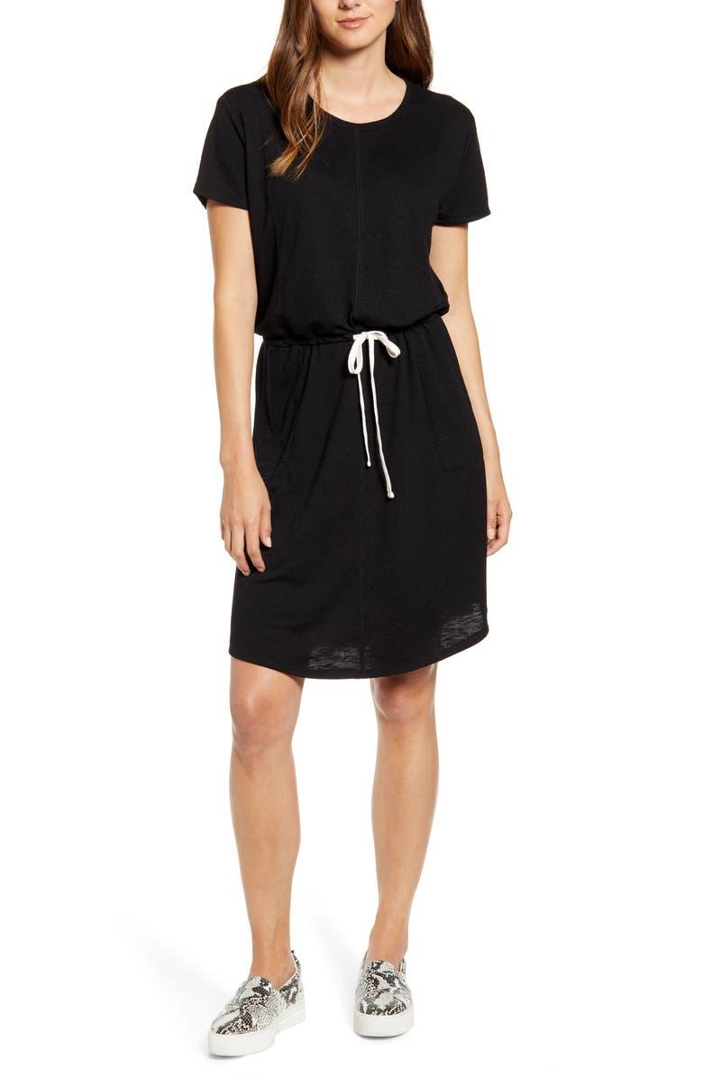 CASLON<SUP>®</SUP> Cinched Waist T-Shirt Dress, Main, color, 001