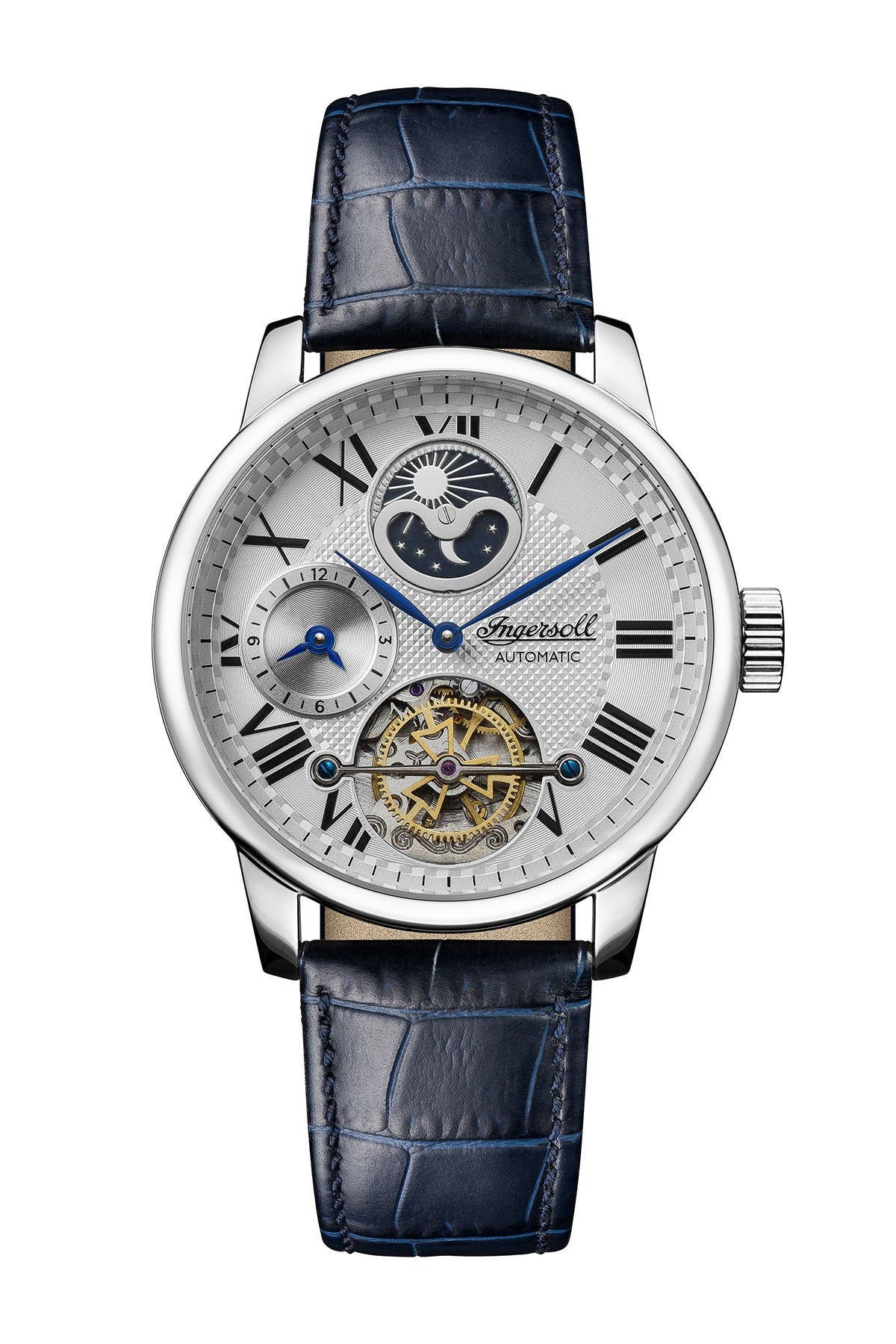 Image of INGERSOLL WATCHES Men's Riff Automatic Blue Leather Strap Watch, 51mm
