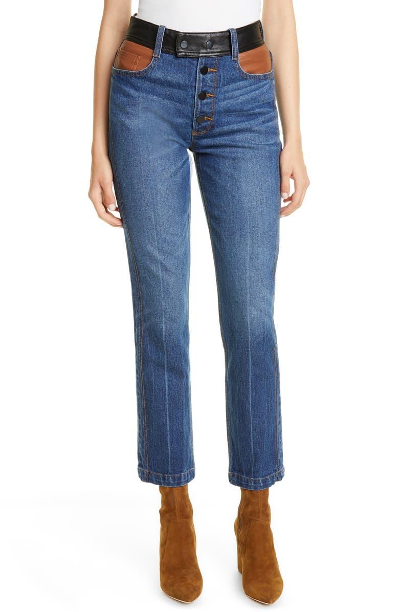 FRAME Le Sylvie Leather Detail Straight Leg Jeans, Main, color, FLYNN