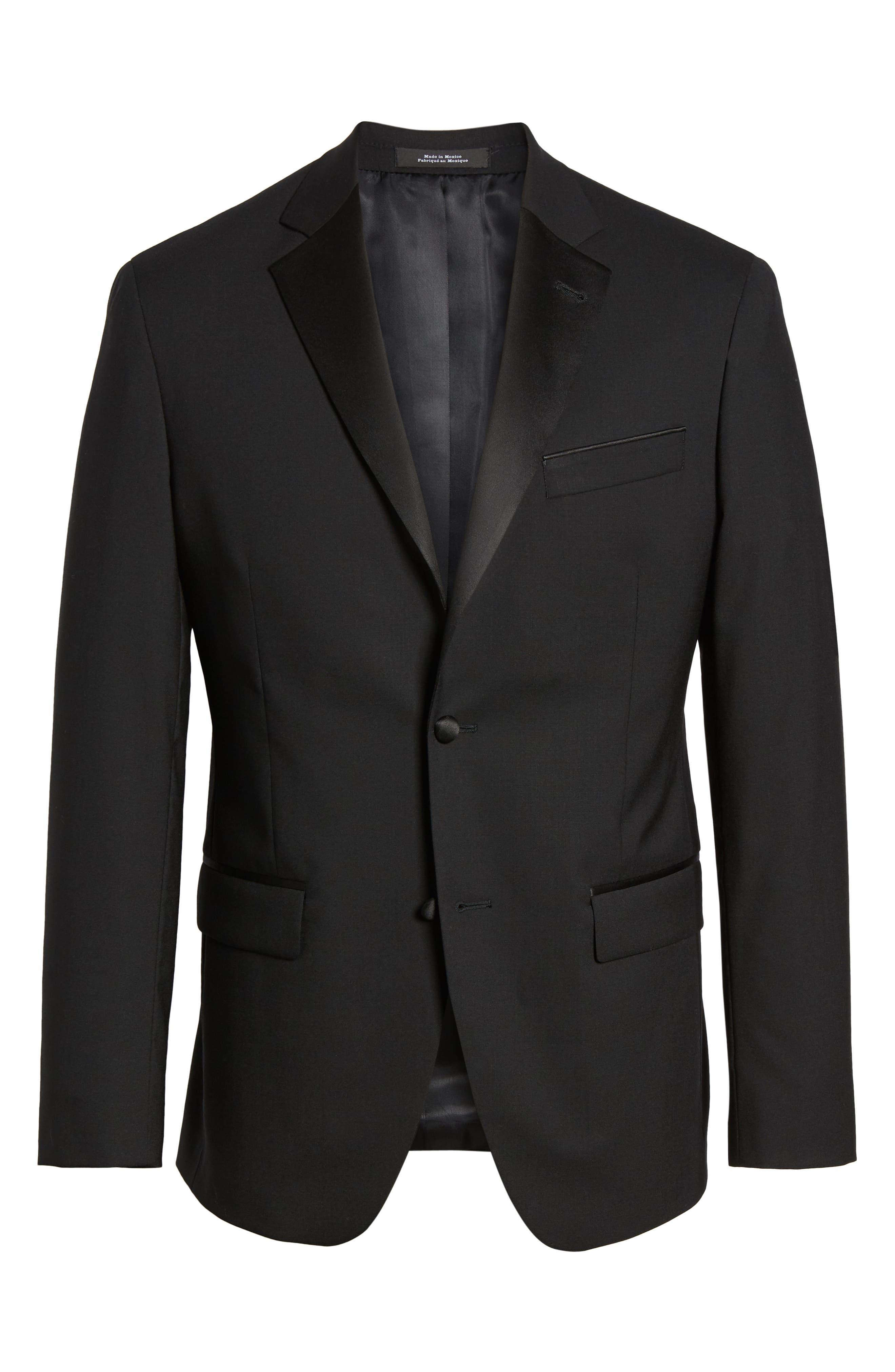 ,                             Trim Fit Stretch Wool Tuxedo Jacket,                             Alternate thumbnail 7, color,                             BLACK