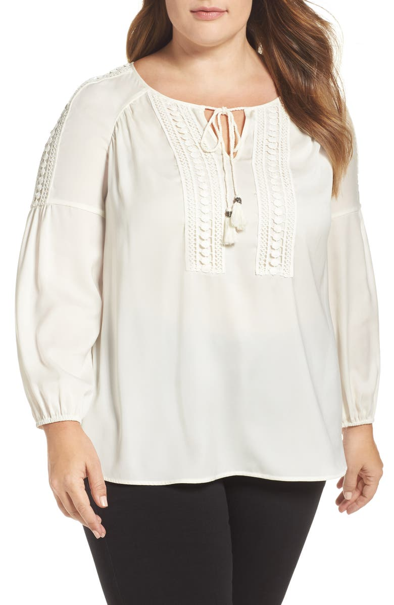 DANIEL RAINN Lace Detail Peasant Blouse, Main, color, 902