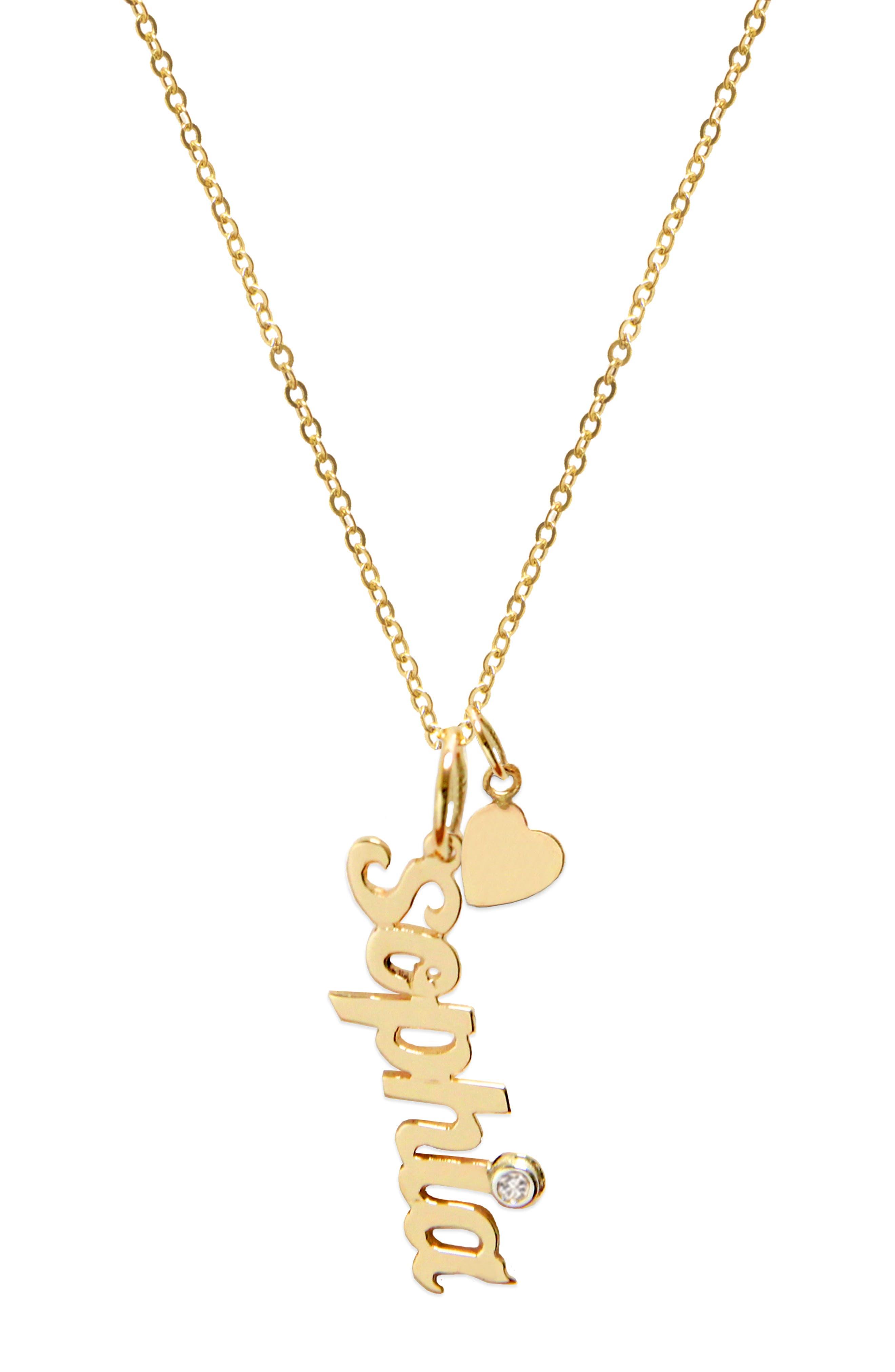 Vertical Diamond Script Pendant Necklace