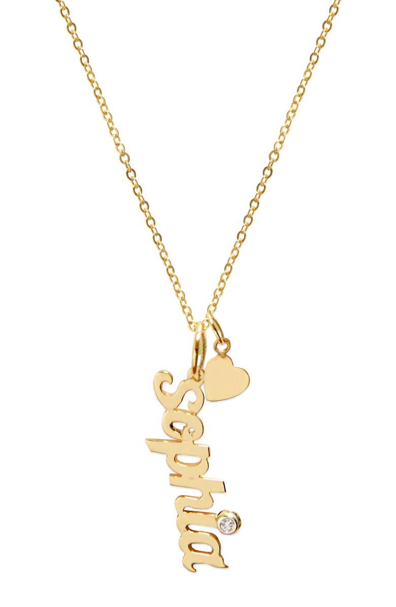JANE BASCH DESIGNS Vertical Diamond Script Pendant Necklace, Main, color, 14K YELLOW GOLD