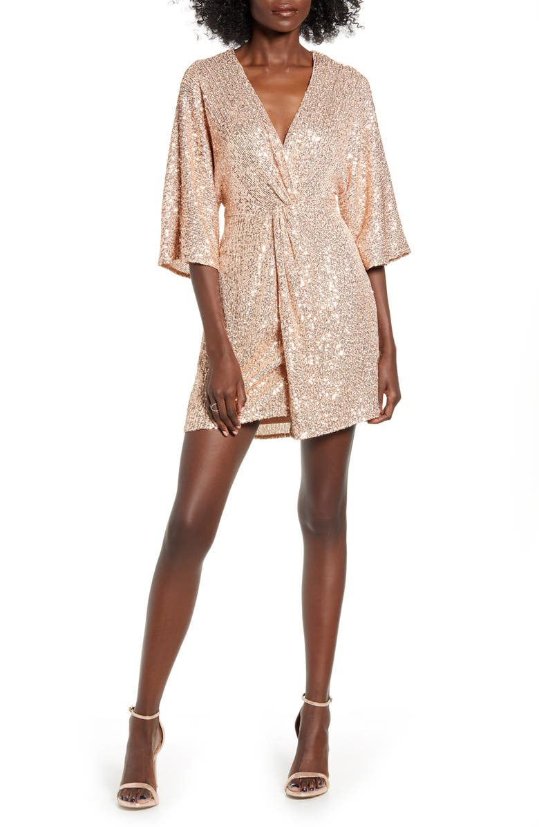 ALL IN FAVOR Sequin Twist Front Dress, Main, color, 650