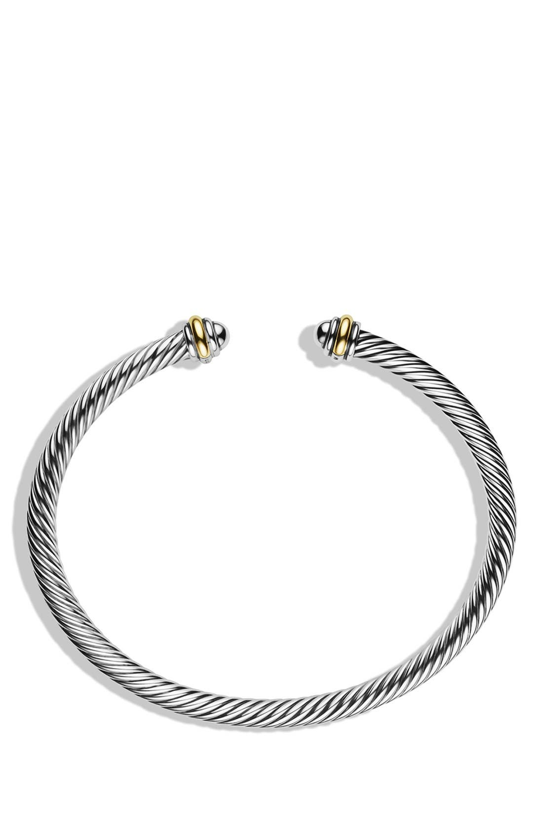 ,                             Cable Classics Bracelet with 18K Gold, 4mm,                             Alternate thumbnail 3, color,                             TWO TONE