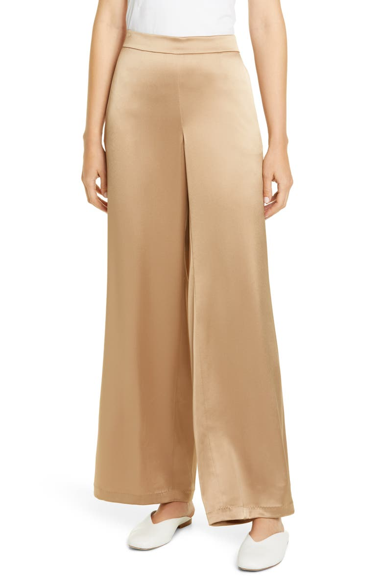 LAFAYETTE 148 NEW YORK Riverside Satin Wide Leg Pants, Main, color, CAMEL