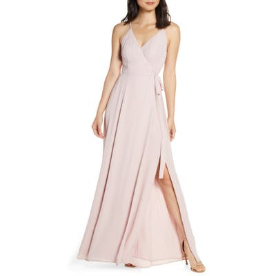 Wayf The Angelina Slit Wrap Gown, Pink