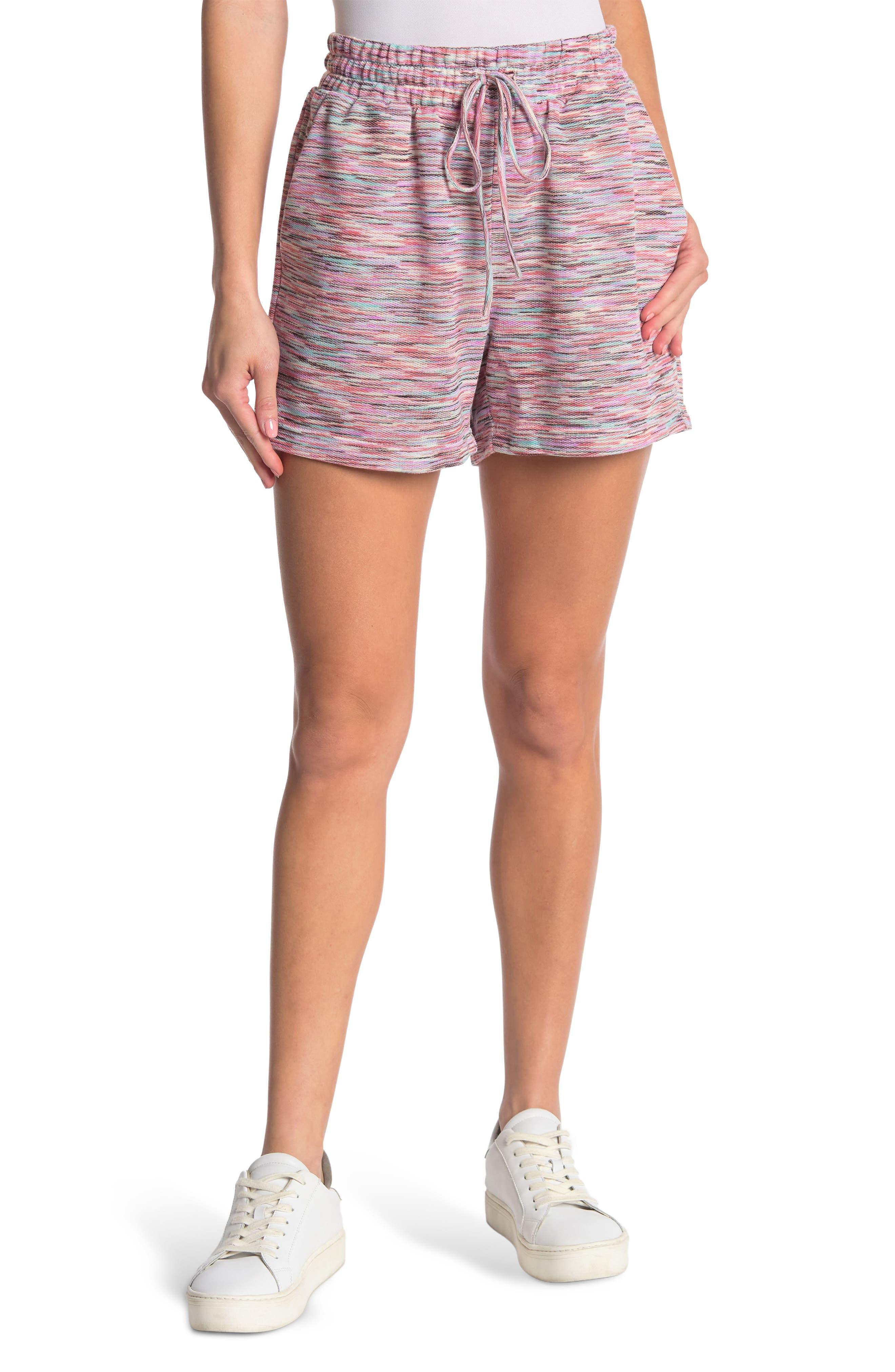 Melloday Drawstring Knit Shorts In Medium Pink7