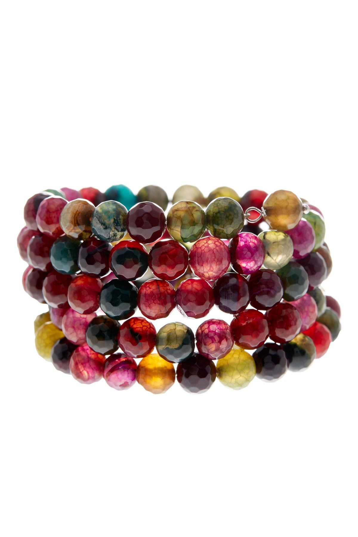Image of Savvy Cie Faceted Multicolor Agate Coil Wrap Bracelet