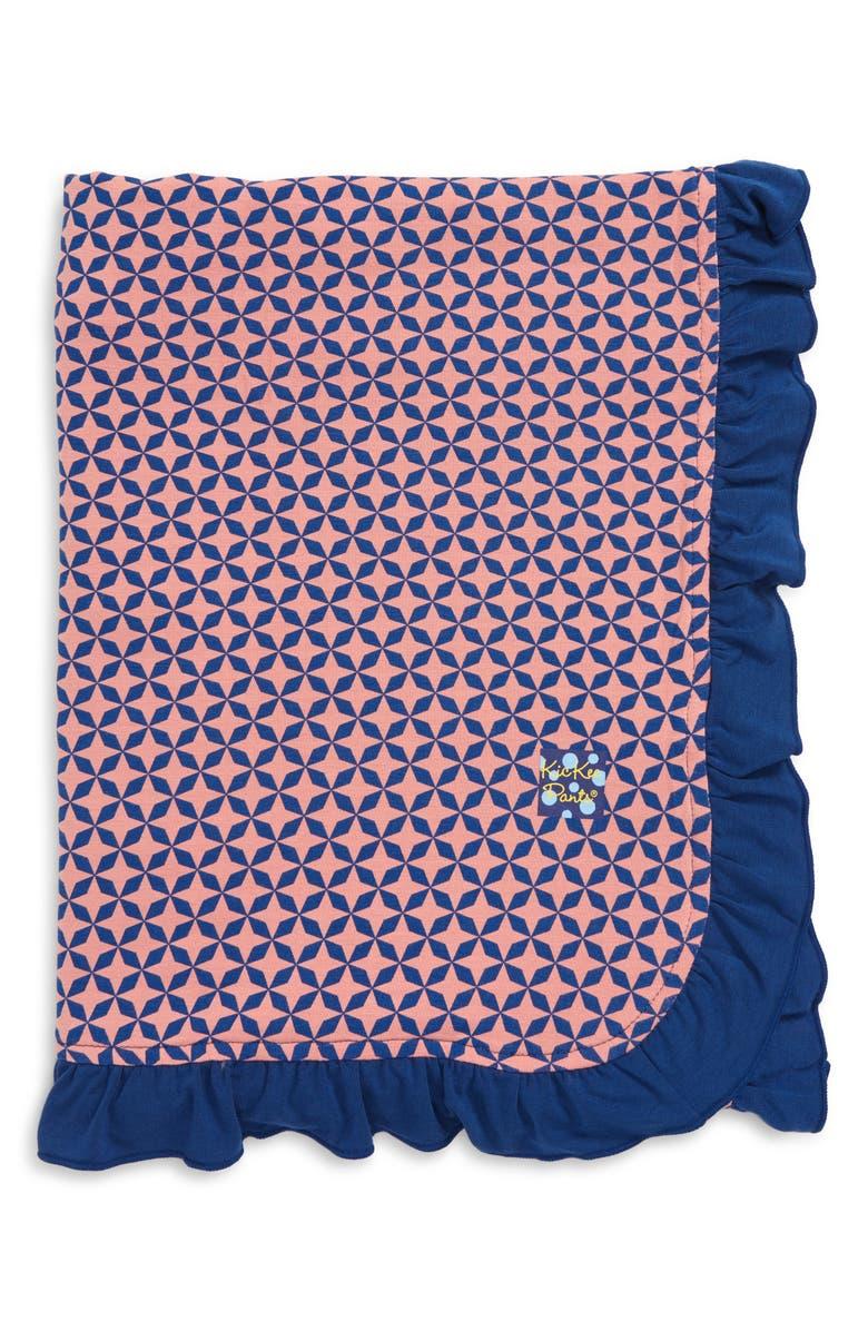 KICKEE PANTS Desert Rose Ruffle Stroller Blanket, Main, color, DESERT ROSE TAJ MAHAL