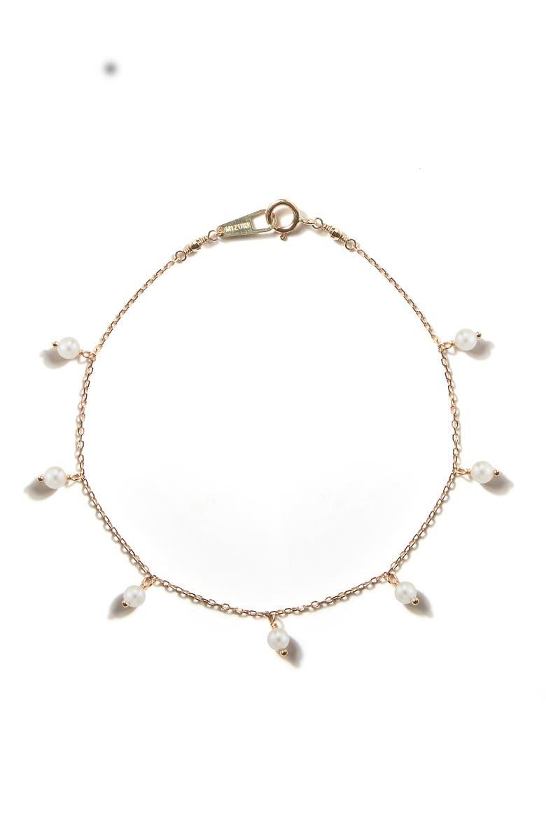 MIZUKI Sea of Beauty White Akoya Pearl Station Bracelet, Main, color, 100