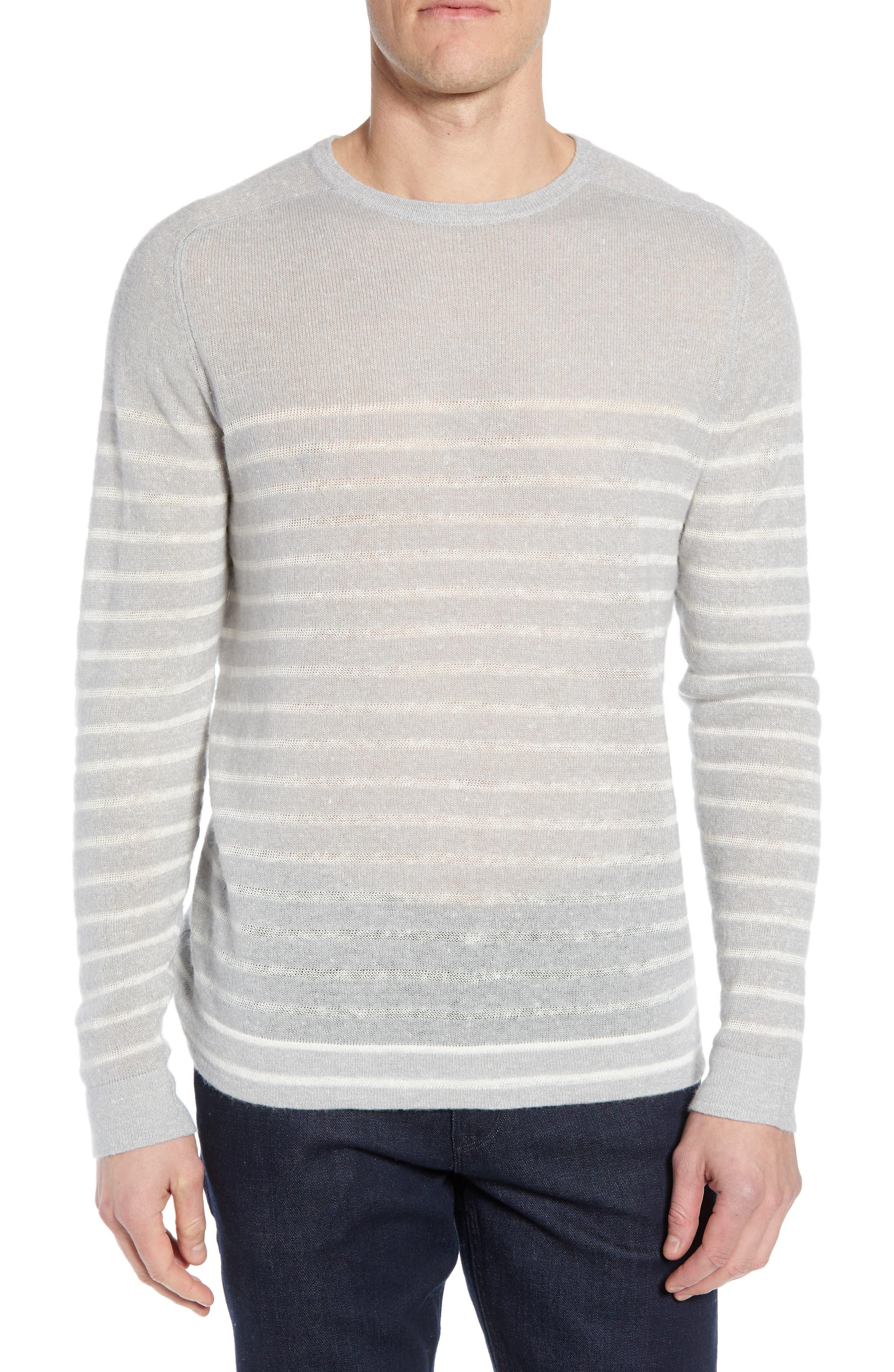 Nordstrom Signature Stripe Crewneck Cashmere & Linen Sweater