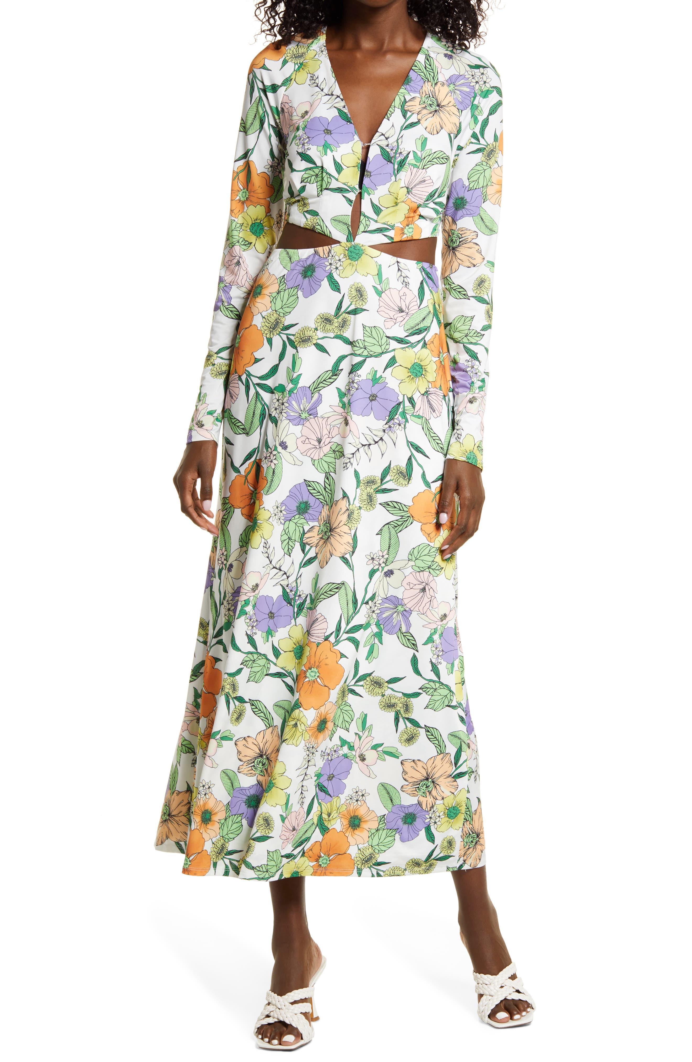 Assi Floral Cutout Detail Long Sleeve Knit Dress