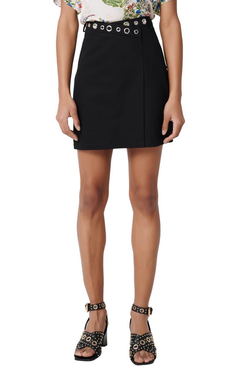 MAJE Jamil Miniskirt, Main, color, BLACK
