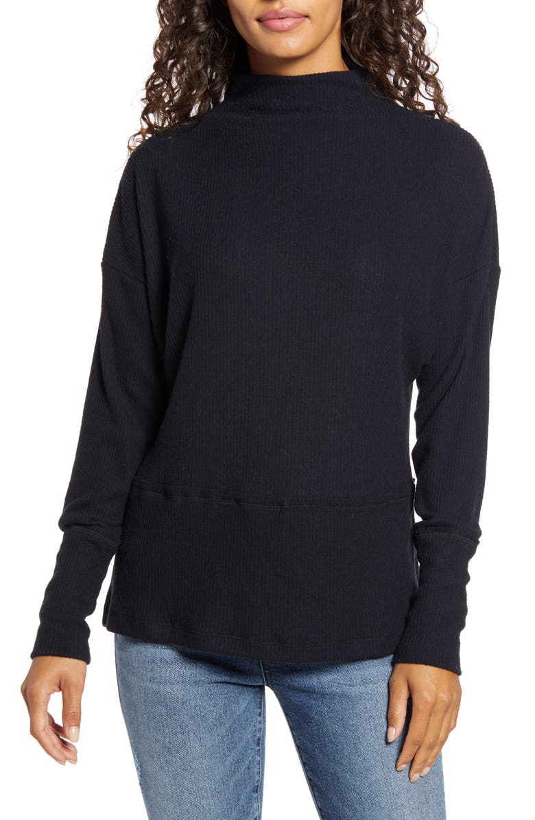 CASLON<SUP>®</SUP> Rib Funnel Neck Sweater, Main, color, BLACK