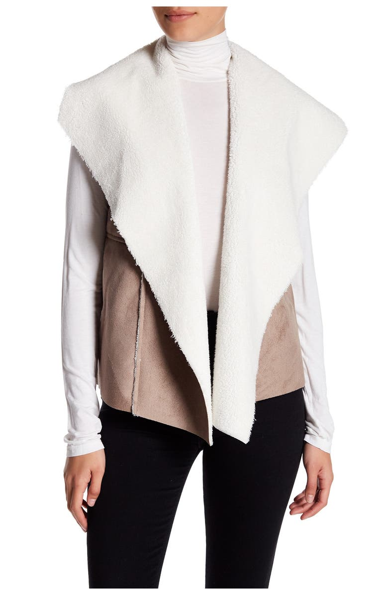 NORDSTROM RACK Faux Shearling & Faux Suede Vest, Main, color, TAN GREY-IVORY