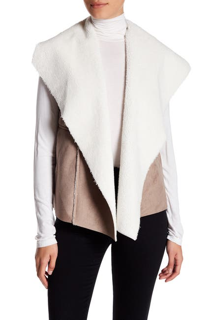Image of Nordstrom Rack Faux Shearling & Faux Suede Vest