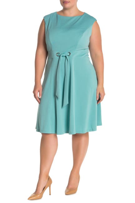 Image of London Times Ottoman Tie Waist FIt & Flare Dress