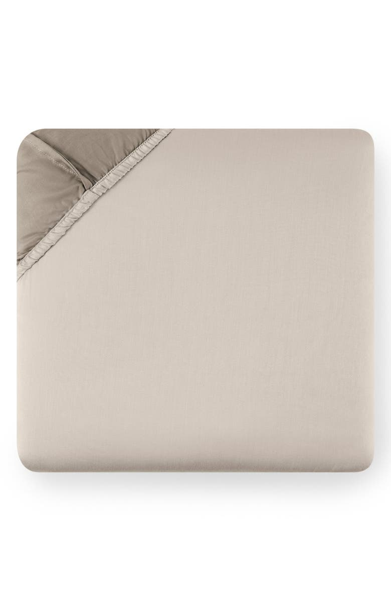 SFERRA Larro 420 Thread Count Fitted Sheet, Main, color, NOUGAT