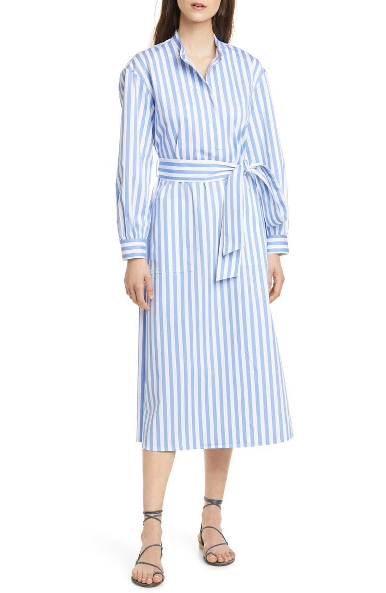 CLUB MONACO Half Placket Long Sleeve Stripe Midi Dress, Main, color, 400