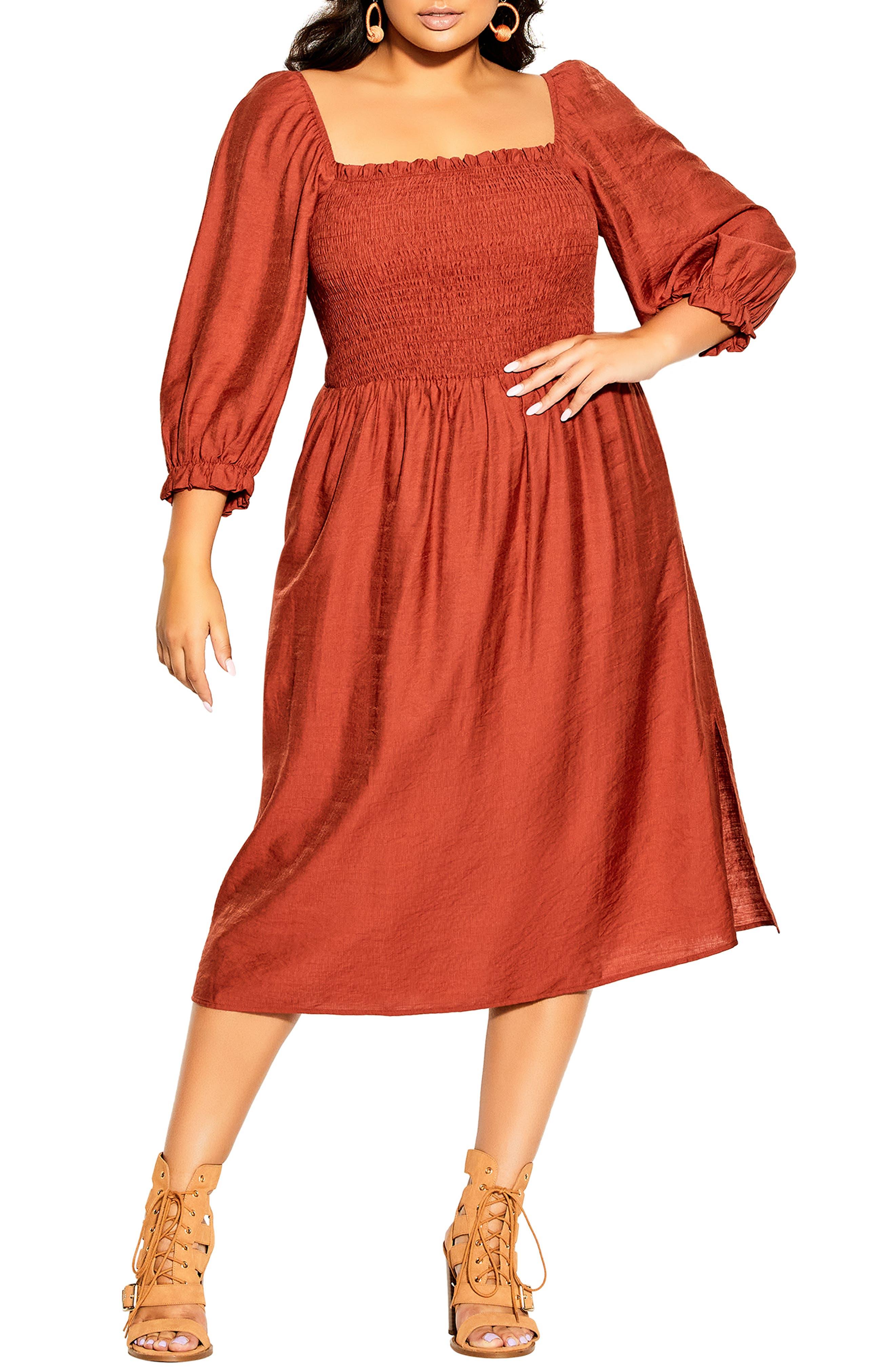 Fearless Smocked Long Sleeve Midi Dress