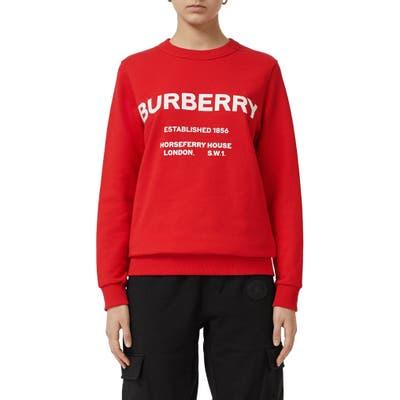 Burberry Harlow Horseferry Print Cotton Sweatshirt, Red
