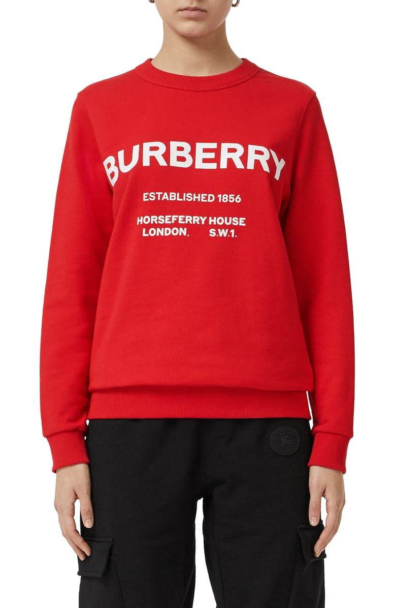 BURBERRY Harlow Horseferry Print Cotton Sweatshirt, Main, color, BRIGHT RED
