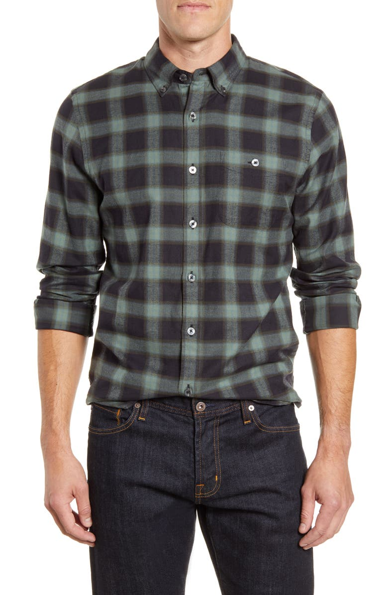 TODD SNYDER Slim Fit Plaid Button-Down Flannel Shirt, Main, color, GREEN