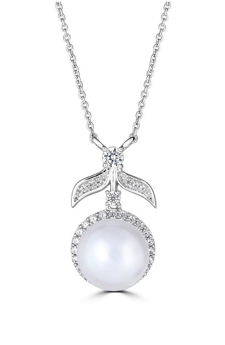 THOMAS LAINE Halo Pearl Pendant Necklace, Main, color, CLEAR/ SILVER