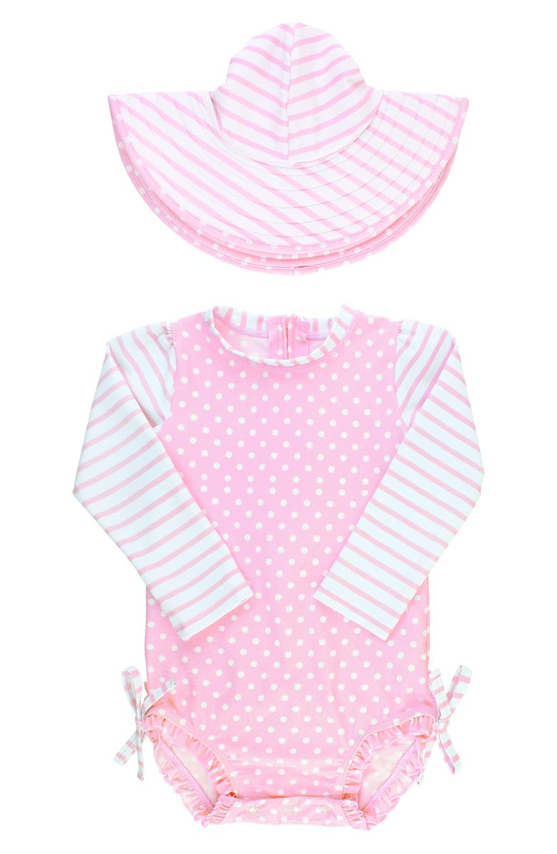 RUFFLEBUTTS Ruffle Butts Polka Dot One-Piece Rashguard Swimsuit & Sun Hat Set, Main, color, PINK