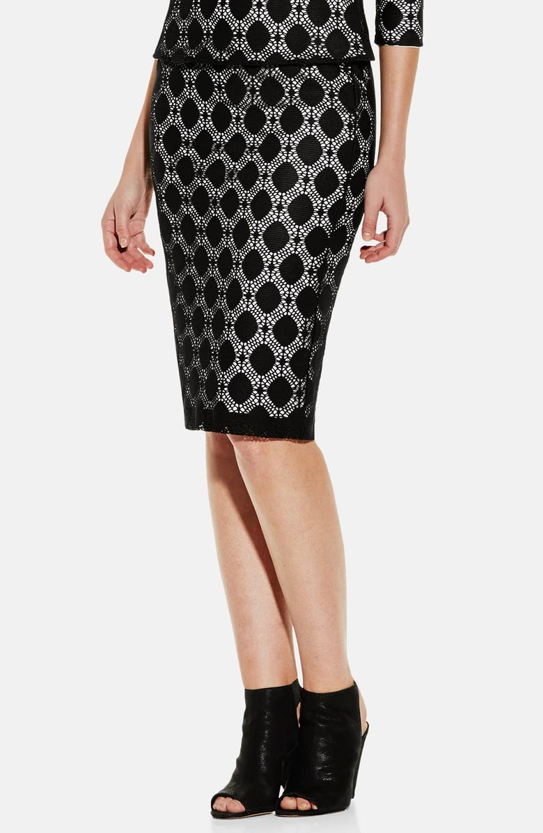VINCE CAMUTO Dot Stretch Lace Pencil Skirt, Main, color, 006