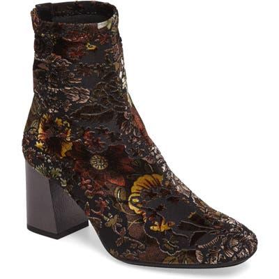 Hispanitas Portia Floral Stretch Velvet Bootie - Black