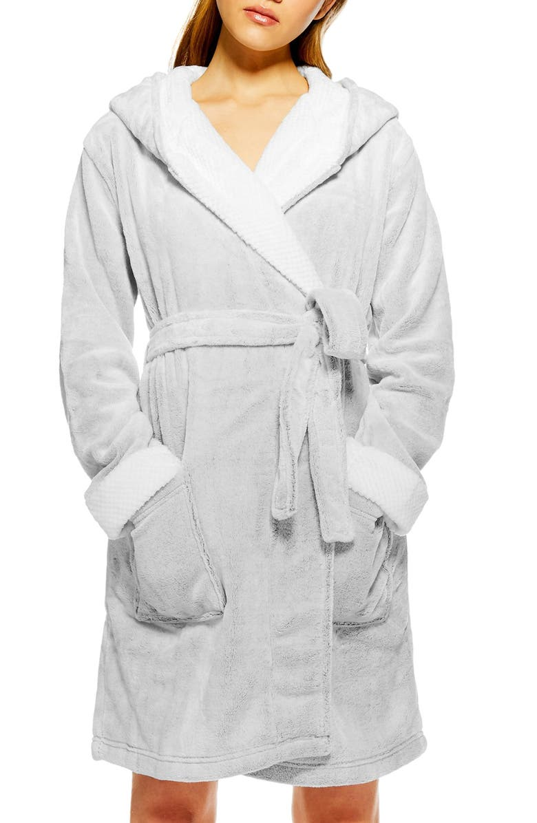 TOPSHOP Frosted Waffle Hooded Fleece Robe, Main, color, 040