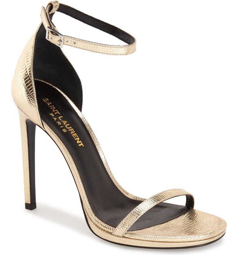 SAINT LAURENT 'Jane' Ankle Strap Leather Sandal, Main, color, 711